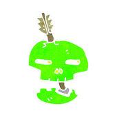 Retro çizgi film korkunç yeşil kafatası — Stok Vektör