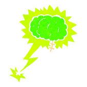 Glowing brain cartoon — Stock Vector