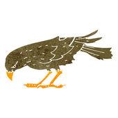 Retro cartoon pecking bird — Stock Vector