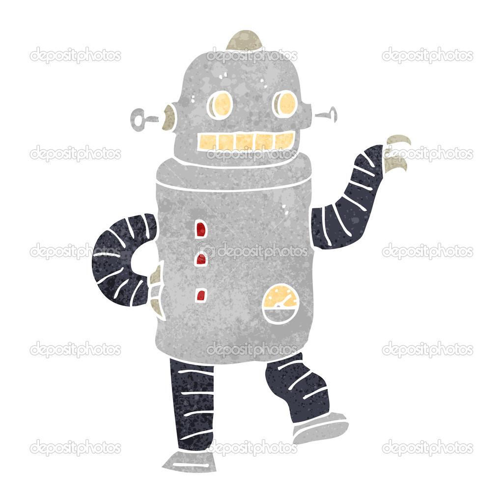 Danza robot retrò dei cartoni animati — vettoriali stock