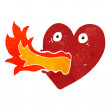 Retro cartoon fire breathing heart — Stock Vector