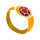 Retro cartoon ruby ring — Stock Vector