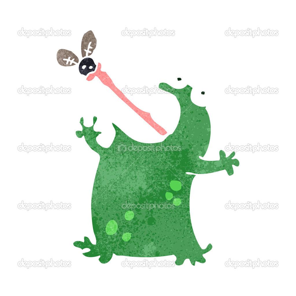 复古卡通青蛙捉苍蝇