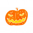 Stock Vector: Retro cartoon spooky pumpkin