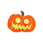 Retro cartoon spooky pumpkin — Stockvektor