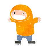 Retro cartoon man wearing hooded top — Stock Vector