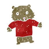 Retro cartoon funny little bear — Stock Vector