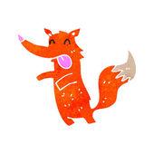 Fox dibujos animados retro — Vector de stock