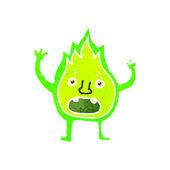 Retro cartoon little green flame — Stock Vector