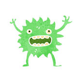 Retro cartoon little green monster — Stock Vector