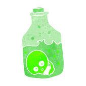 Retro cartoon skull in bottle — Stock Vector