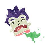 Retro cartoon severed vampire head — Stock Vector