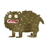 Retro cartoon hairy beast — Stock Vector