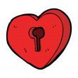 Cartoon heart lock — Stock Vector
