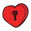 Cartoon heart lock — Stock Vector