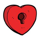 Dibujos animados corazón candado — Vector de stock