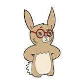 Kreslený králík nosit brýle — Stock vektor