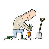 Karikatür bahçıvan — Stok Vektör