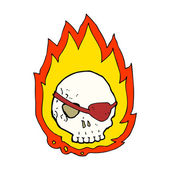 Cartoon flaming skull — Stock Vector