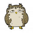 Stock Vector: Cartoon wise old owl