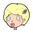 Vector de stock : Cartoon surprised female face