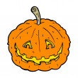 Stock Vector: Cartoon grinning pumpkin