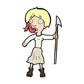 Cartoon woman with spear sticking out tongue — Vecteur