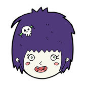 мультфильм счастливый вампир девушка лицо — Cтоковый вектор