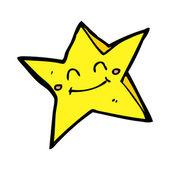 Cartoon happy star character — Stock Vector