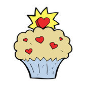Cartoon love heart cupcake — Stockvector