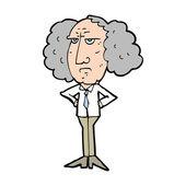Cartoon big hair lecturer man — Stock Vector