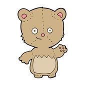 Cartoon little teddy bear waving — Stock Vector