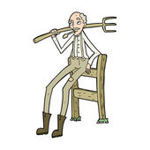 Cartoon old farmer leaning on fence — 图库矢量图片