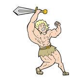 Cartoon barbarian hero — Stock Vector