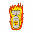 Cartoon flaming bomb — Stock Vector