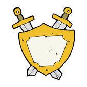 Cartoon shield and swords — Stock Vector