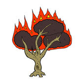Cartoon burning tree — Vector de stock