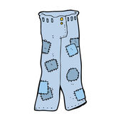 Cartoon patched old jeans — Stok Vektör