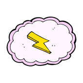 Cartoon cloud and lightning bolt symbol — Stock Vector