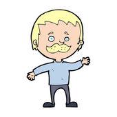 мультфильм человек с усами размахивая — Cтоковый вектор