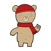 Мультфильм размахивая плюшевый медведь — Cтоковый вектор