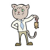 Cartoon business cat with dead mouse — Stock Vector