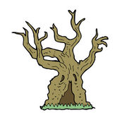 Cartoon spooky old tree — 图库矢量图片