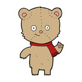 Cartoon teddy bear waving — Vector de stock