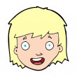 Vector de stock : Cartoon happy female face