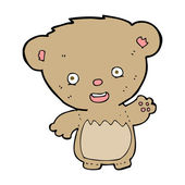 Cartoon teddy bear waving — Stock Vector