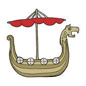 Dibujos animados de barco vikingo — Vector de stock