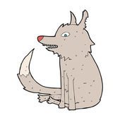 Cartoon wolf sitting — Stockvektor