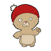 Cartoon cute teddy bear in hat — Stockvector