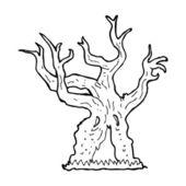 Cartoon Spuk Alter Baum — Stockvektor